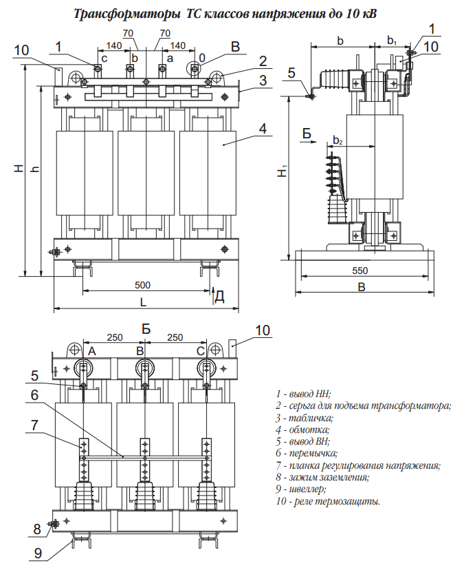 Схема сухих трансформаторов ТС